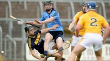 Antrim's Benny Connor saves from Ciaran Dowling of Dublin. Photo: James Crombie/INPHO