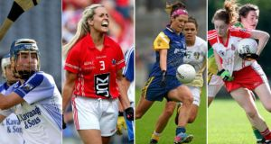 Waterford's Trish Jackman, Cork's Bríd Stack, Roscommon's Amanda McLoone and Tyrone's Shannon Quinn. Photograph: Inpho