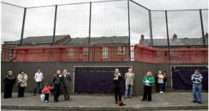 The peace wall on Bryson Street, Belfast. Photograph: David Sleator