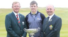 Dan O' Donovan (Captain LaHinch Golf Club), Stuart Grehan (Tullamore) and Michael Connaughton (GUI President) before the final round of the South of Ireland Amateur Open Championship at LaHinch Golf Club on Sunday 26th July 2015. Picture: Golffile | TJ Caffrey