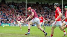 Jonathan Glynn scores Galway's first goal against Cork.  Photograph: Inpho/Morgan Treacy