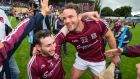 Padraig Mannion and David Collins celebrate Galway's All-Ireland SHC quarter-final win over Cork at Semple Stadium yesterday. Photo: Cathal Noonan/INPHO