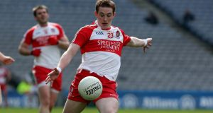 "Messages of support are continuing to pour in for Derry footballer Aaron Devlin who faces a ""crucial 48 hours"" as he battles an aggressive strain of meningitis. Photograph: Inpho"