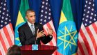 Barrack Obama during a news conference in Addis Ababa, Ethiopia, today. Photograph: STR/EPA