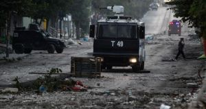Turkish riot police truck during clashes with protesters. Photograph: Ulas Yunus tosun/EPA