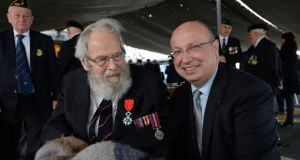 D-Day veteran Michael d'Alton from Dalkey, Co Dublin, who was presented with the Chevalier de la Légion d'Honneur  by Jean-Pierre Thebault, the French ambassador on board the French Navy Command and Support Ship Somme, in Dublin Port. Photograph: Eric Luke