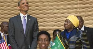 US president Barack Obama with African Union chairperson Nkosazana Dlamini Zuma (right) arrives to speak about security and economic issues and US-Africa relations at the African Union headquarters in Addis Ababa on Tuesday. Photograph: Saul Loeb/AFP/Getty Images