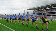 Dublin captain Stephen Cluxton leads his players in the team parade before the Leinster final against Westmeath. Photograph: Tommy Grealy/Inpho