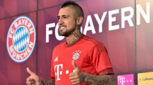 Bayern Munich Arturo Vidal poses for the media following his transfer from Juventus. Photograph: Peter Kneffel/dpa via AP