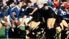 New Zealand beat Italy 70-6 in the first ever World Cup match at Eden Park on May 22nd 1987. Photograph: Getty