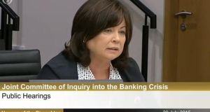 Former tanáiste Mary Harney said the government should have asked harder questions and dug deeper than it did in the lead up to the banking crash. Screengrab: Oireachtas
