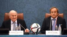 UEFA president Michel Platini wants to succeed Sepp Blatter (left) as the head of Fifa. Photograph: Marcus Brandt/EPA