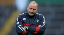 Former  Cork manager Brian Cuthbert looks dejected at Semple Stadium during his side's loss to Kildare. Photograph: Donall Farmer/Inpho