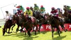 Shanahan's Turn and Jonathan Burke (third from right) on their way to winning the Galway Plate. Photograph: James Crombie/Inpho