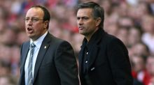 "Rafael Benitez and Jose Mourinho: ""I think she needs to occupy her time, and if she takes care of her husband's diet she will have less time to speak about me,"" said Mourinho.   Photo: Gareth Copley/PA"