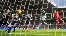 Celtic's Dedryck Boyata scores his side's  goal during the Uefa Champions League third round qualifying match against Qarabag FK at Celtic Park. Photograph: Jeff Holmes/PA