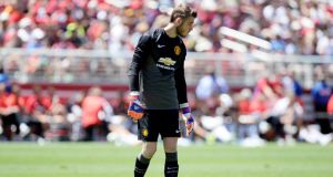 Louis van Gaal has admitted the speculation over the future of goalkeeper David de Gea is unfavourable. Photograph: Getty