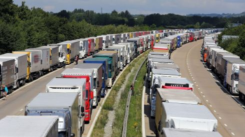 Lorries parked as part of Operation Stack along the M20 in Ashford, Kent, as Channel crossings are disrupted by migrant activity in Calais. Photograph: Gareth Fuller/PA Wire