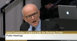 Fintan Drury giving evidence at the Oireachtas banking inquiry on Thursday