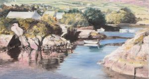 Detail from Jules Thomas' painting of Heron's Cove