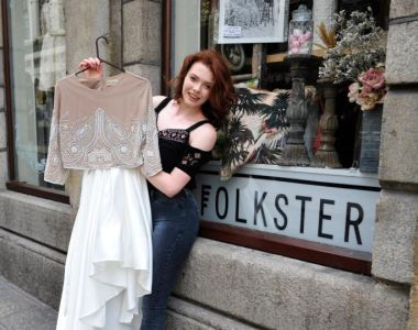 Sinead foyle from Co Laois picutred wth her Debs Dress which she bought in Folkster in Temple Bar Dublin. Photograph: Aidan Crawley