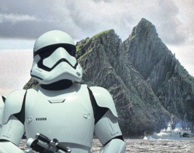 LÉ Samuel Beckett patrols Skellig Michael during filming last year for the new Star Wars film (overlay). Photograph: Charles McQuillan/Getty