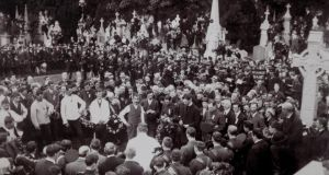 Laid to rest: O'Donovan Rossa's funeral, at Glasnevin Cemetery in Dublin, on August 1st, 1915. Photograph courtesy of the Cole/O'Donovan Rossa family