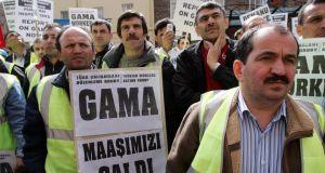 Gama workers protest in Dublin in 2005. File Photograph: Eric Luke/The Irish Times
