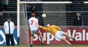 Tyrone's Peter Harte scores from the penalty spot against Meath in Round 2B of the All-reland SFC last month. Photograph: Andrew Paton/Inpho.