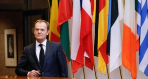 "European Council President Donald Tusk:  ""I am really afraid of this ideological or political contagion, not financial contagion, of this Greek crisis"". Photograph:  EPA/JULIEN WARNAND"
