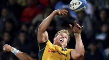 Australia captain Michael Hooper jumps to collect a lineout against Argentina in the Rugby Championship. Photograph: Amilcar Orfali/Getty images