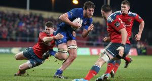 Kane Douglas in action for Leinster against Munster last season. Photograph: Billy Stickland/Inpho