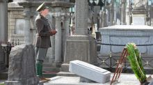 Jim Roche re-enacting the graveside oration of Padraig Pearse, at the Centenary Commemoration of the funeral of O'Donovan Rossa at Glasnevin cemetary. Photograph: Eric Luke/The Irish Times