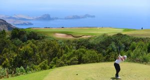 Scott Henry of Scotland tees off on the  the fourth  hole during the third round of the  Madeira Islands Open  at Club de Golf do Santo da Serra  in Funchall. Photograph: Tom Dulat/Getty Images