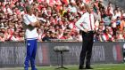 Chelsea manager Jose Mourinho and Arsenal's manager Arsene Wenger during the Community Shield final. Photograph: EPA