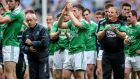 Fermanagh manager Pete McGrath and his players salute the team's fans after Dublin's victory at Croke Park. Photograph: James Crombie/Inpho