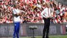 Chelsea manager José Mourinho  and Arsenal's manager Arsène Wenger (patrol the sideline during the  FA Community Shield at Wembley stadium. Photograph: Facundo Arrizabalaga/EPA
