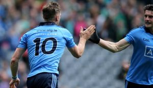 Dublin's Paul Flynn celebrates scoring his side's second goal against Fermanagh during yesterday's All-Ireland Senior Football Championship quarter-final at Croke Park. Photo: Donall Farmer/INPHO