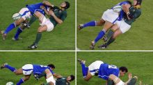 Samoan centre Brian Lima tackles South African halfback Derick Hougaard during the Rugby World Cup Pool C match between South Africa and Samoa at Lang Park at the 2003 Rugby World Cup. Photo: Christophe Simon/Getty Images