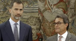 Spain's King Felipe with Catalan governor Artur Mas after his arrival for their meeting at the Zarzuela palace in Madrid last month. Photograph: Andrea Comas/ Reuters