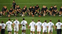 France march on the Haka before the 2011 Rugby World Cup final against New Zealand. Photograph: Getty
