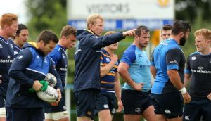 Leinster interim head coach Leo Cullen at an open training session at Edenderry RFC yesterday. Photograph: Ryan Byrne/Inpho