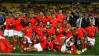 Tonga celebrate after their 19-14 win over France in the 2011 World Cup. Photograph: Getty
