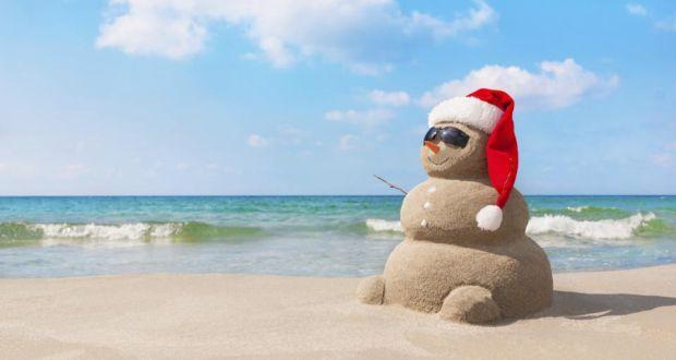 santa in the sun christmas on the beach - Christmas On The Beach