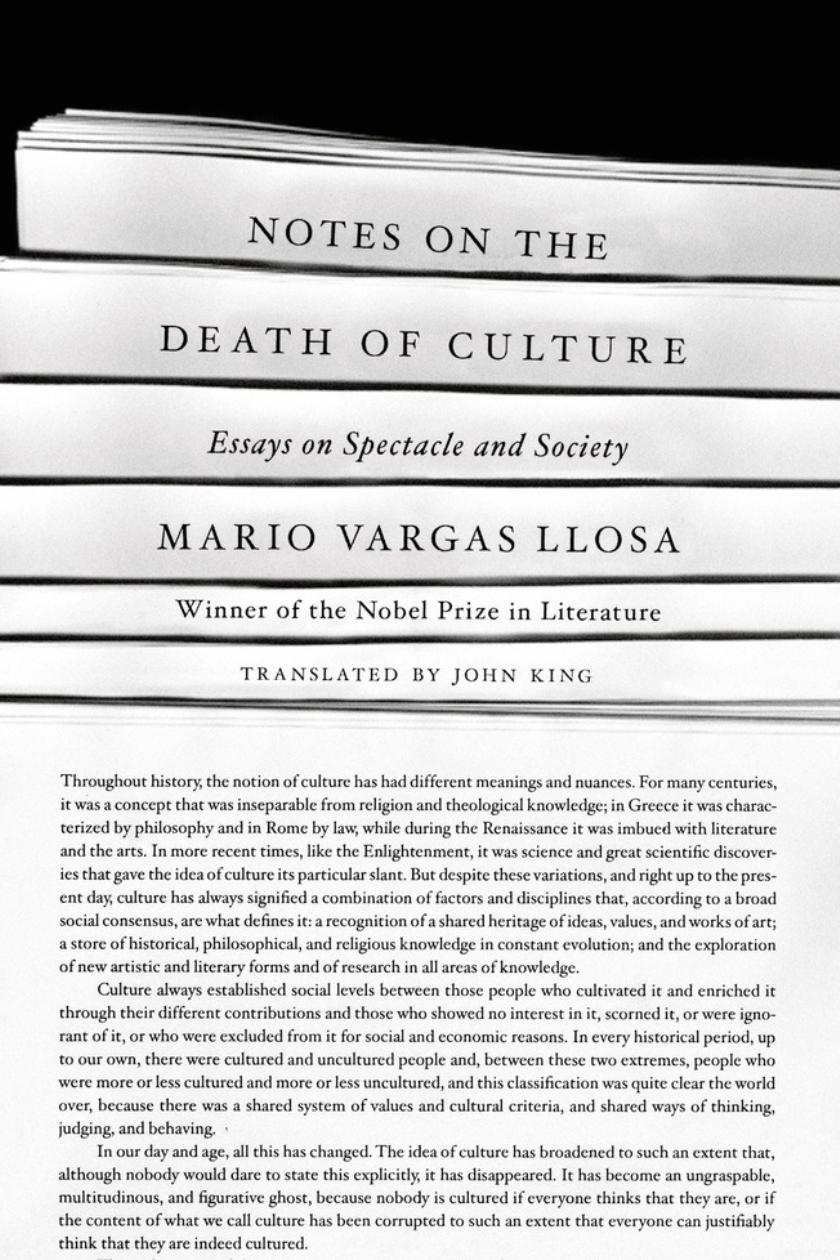 book review notes on the death of culture by mario vargas llosa