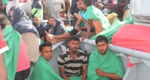 Irish Defence Forces photograph of migrants on board the the LÉ Niamh enroute to Palermo.