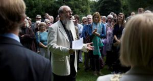 Rev Patrick Comerford speaks at a ceremony to commemorate the Hiroshima and Nagasaki bombing victims in Merrion Square in Dublin. Photograph: Sara Freund/The Irish Times