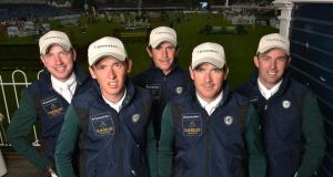 Ireland's Greg Broderick, Bertram Allen, Darragh Kenny, Conor Swail and Cian O'Connor ahead at the RDS. The Aga Khan starts at 3pm on Friday. Photograph: Cody Glenn/Sportsfile