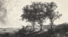 Detail from The Three Trees by  Rembrandt
