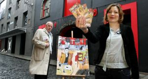 Councillor Mannix Flynn launching an official guide to Temple Bar with artist Marta Wakula-Mac in 2008. Three years later he tabled a motion to move the trust under the  control of the council. Photograph: Cyril Byrne